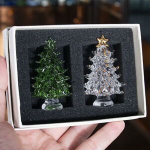 H-amp-D-2pcs-set-Crystal-Paperweight-Facet-Christmas-Tree-Figurine-Glass-Wedding