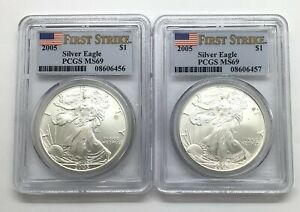 MS69 2005 American Silver Eagle First Strike Graded PCGS *425
