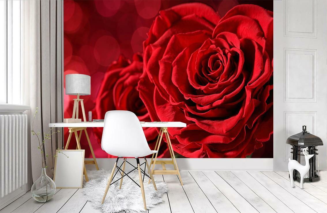 Red pinks Flowers Wallpaper Woven Self-Adhesive Wall Mural Art Decal M167