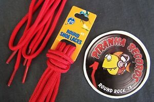 Red-Thin-Round-45-034-x-1-8-034-3-8-034-JN-Shoelaces-Shoe-Strings-Piranha-Records