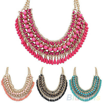 NEW BOHEMIAN WOMENS EXOTIC ETHNIC STYLE BRAID STATEMENT TASSELS NECKLACE PENDANT