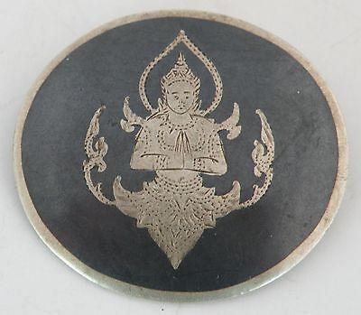 Vintage Siam Sterling Silver Pin c.1930 Niello, sitting Buddha brooch, detailed
