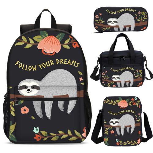 Flower Sloth Follow Your Dreams School Backpack Lunchbox Bags Pen Bags Wholesale