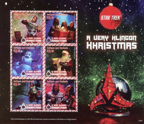 Antigua /& Barbuda 2015 MNH Star Trek Klingon Khristmas 6v M//S Christmas Stamps