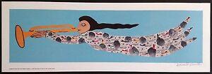 Signed-HOWARD-FINSTER-Folk-Art-ANGEL-Print-Unframed-MINT-27-25-034-x-9-25-034