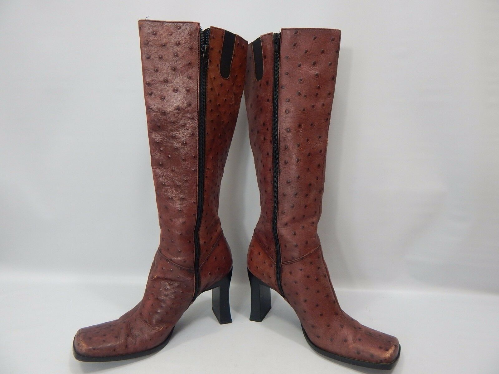 Meyer Knee Brazil Burgundy Ostrich Leather Knee Meyer High Heel Boots size 7.5M Square Toe b166db