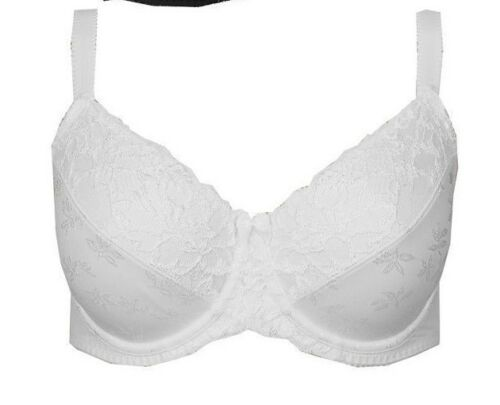 Brand New Ex M/&S Jacquard Lace Non-Padded Full Cup Bra Sizes 32-44 DD-GG White