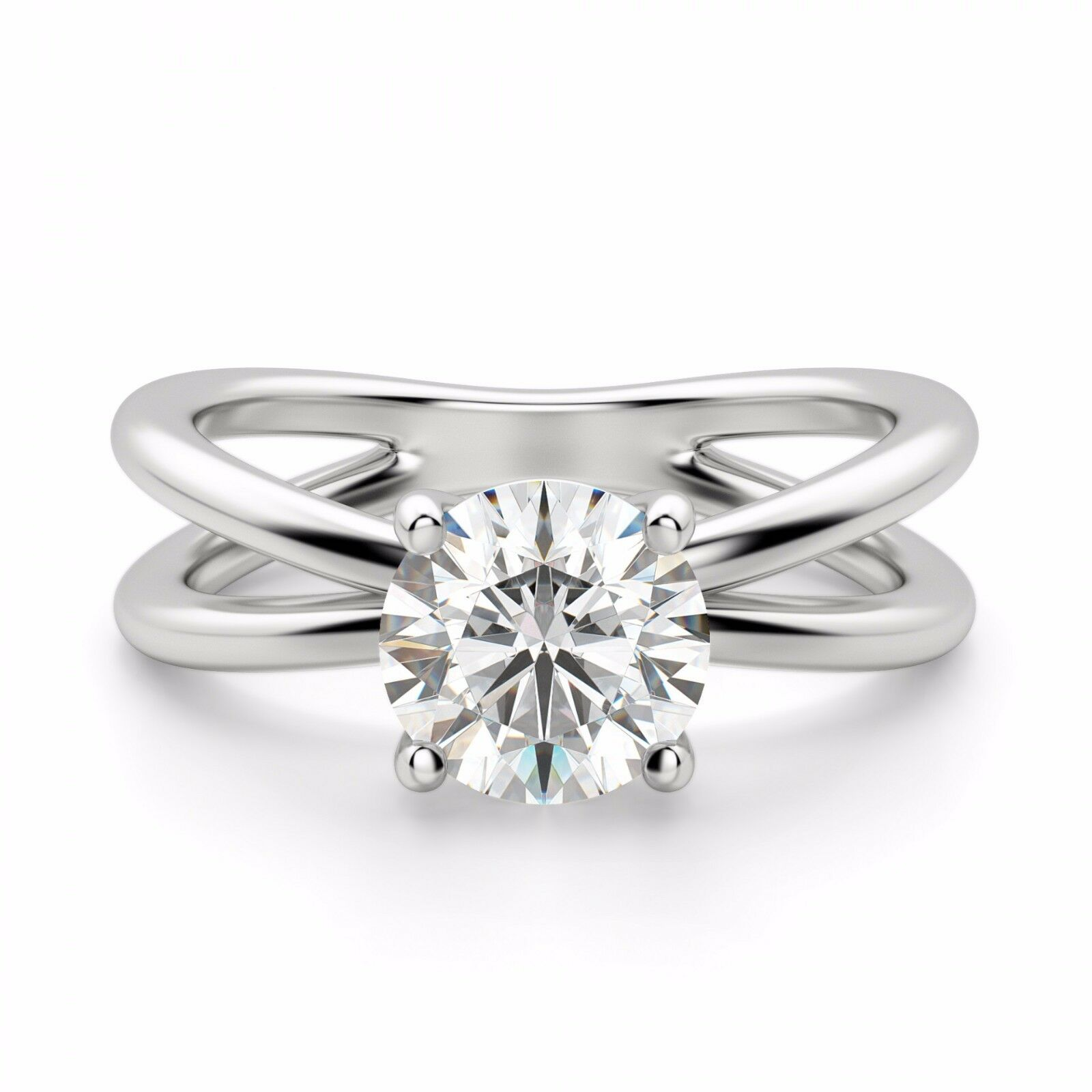 14K White gold Rings Round 2.00 Ct VVS1 Diamond Solitaire Engagement Ring Size 6