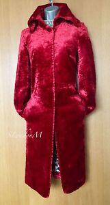 Karen-Millen-UK-10-Vintage-Cherry-Red-Faux-Fur-Coat-Jacket-Party-Evening-EU-38