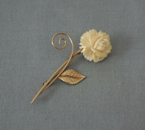 White Celluloid Flower Brooch with Faux Jade Leaves Signed HCA 120 12K GF  JA7 017