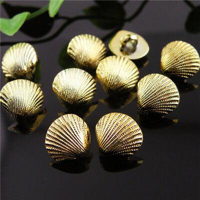 "12PCS Zinc Alloy Gold Metal Carving Shell Shank Buttons 14mm 22L 9//16/"""