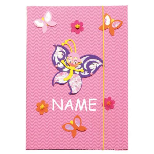 Schmetterling Bastelset A3 Mappe incl für Zeichnung Gummizugmappe z.B NAME