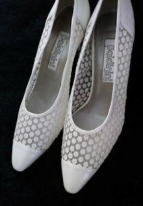 white sequin pumps