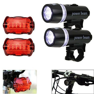 Waterproof 5 LED Lamp Bike Bicycle Front Head Light Rear Safety Flashlight