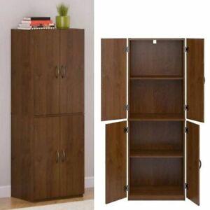 KITCHEN-PANTRY-CABINET-Storage-Wood-Tall-Organizer-Adjustable-Shelves-Furniture