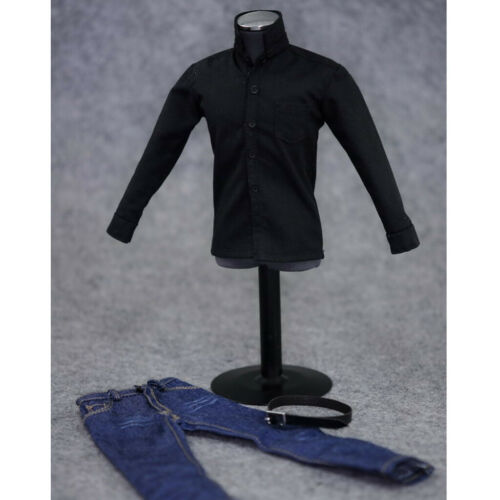 Black Long Sleeve Shirt /& Jeans 1//6 Clothes Set for 12 Inch Figure