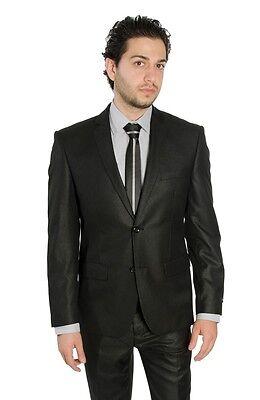 AZAR MAN Slim Fit Men Suit 2 Button Dark Grey Notch Lapel Flat Front Pants