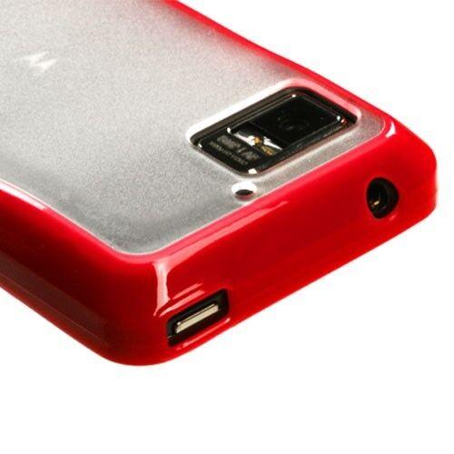 For Motorola Droid Bionic TPU Gel GUMMY Hard Skin Case Phone Cover Red Clear