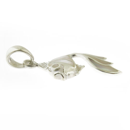 925 Sterling Silver Mother of Pearl Fish Pendentif ou Collier