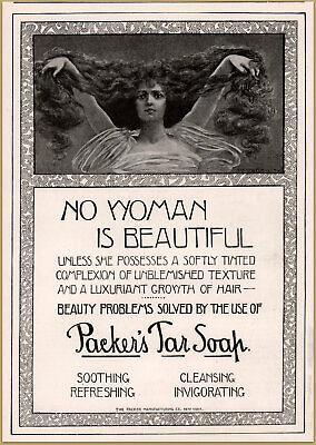 ophelia 1900 G Packers Tar Soap Woman Long Hair Beautiful Print Ad