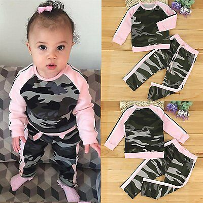 2PCS Kids Baby Girls T-shirt+Pants Outfits Toddler Clothes Set Tracksuit 0-4Yrs