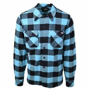 Dickies-Men-039-s-Neon-Aqua-Blue-Plaid-Sacramento-L-S-Flannel-Shirt-Retail-44-99