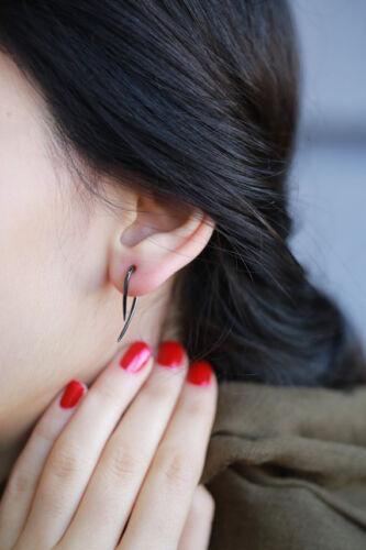 925 Sterling Silver Black Rhodium double face Piercing Style Boucles D/'oreilles