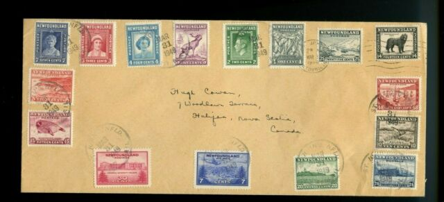 NFLD to Halifax, N.S. 1949 multi franked cover Canada