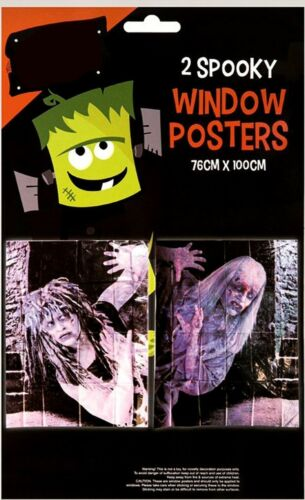 2 Spooky Halloween Zombie Window Wall Poster House Party Decoration Creepy Scary