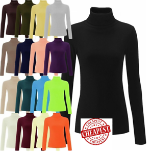 WOMEN-RIBBED-ROLL-NECK-JUMPER-TOP-LADIES-RIB-POLO-NECK-LONG-SLEEVE-TOP-Plus-8-30