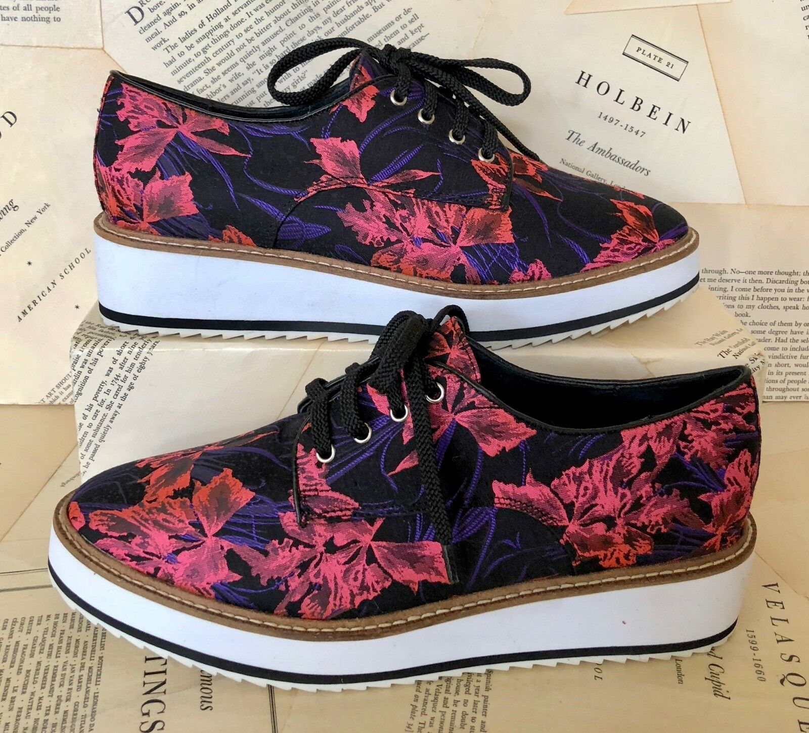 NEW Shelly's black pink Flora Flora Flora Fabric Lace Up Oxford shoes  39  8-8.5 dd9429