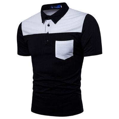 Men's Polo Neck Shirt Slim Fit Pocket T-shirts Fashion Cutton Tee Tops For Men