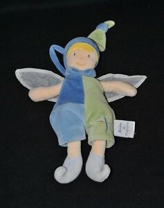 Peluche-lutin-garcon-papillon-DOUDOU-ET-COMPAGNIE-vert-bleu-ailes-22-cm-TTBE