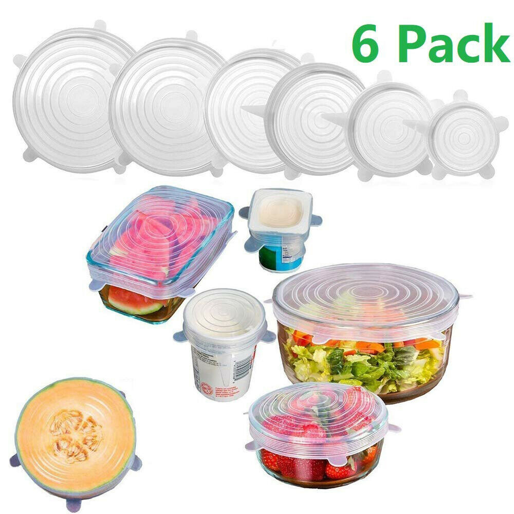 6Pcs Reusable Silicone Food Bowl Covers Fresh Keeping Cover Strech Seal Lid Tool Cling Film, Foil & Food Wraps