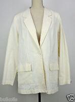 L Denim & Co Stretch Seersucker One Button Blazer Yellow Qvc Vintage Coat A60213