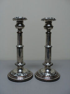 Image is loading PAIR-ENGLISH-19th-C-OLD-SHEFFIELD-PLATE-OSP- & PAIR ENGLISH 19th C. OLD SHEFFIELD PLATE (OSP) SILVER PLATE CANDLE ...