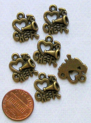 5 Cheerleader Charms Antique Bronze Tone Love to Cheer BC180