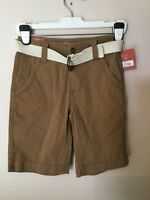 Men Mossimo Flat Front Brown Belted Shorts W26