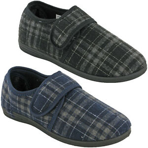 MENS-SLIPPERS-EASY-FASTEN-CHEQUERED-WARM-CUSHION-WALK-WINTER-OUTDOOR-UK-7-11