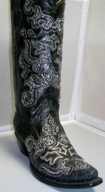 Corral Boot Women's A1192 Black Inlay and Crystals-several sizes
