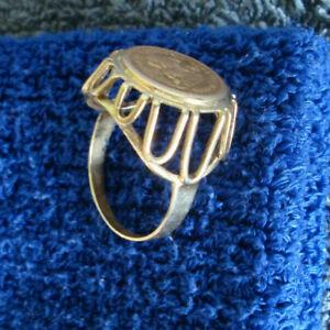 585 Gold Ring Dos Pesos 1945 Unidos Mexicanos - 2 Peso - Münzring 14K - 4,6 g - Saarbruecken, Deutschland - 585 Gold Ring Dos Pesos 1945 Unidos Mexicanos - 2 Peso - Münzring 14K - 4,6 g - Saarbruecken, Deutschland