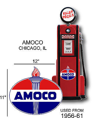 "12/"" 1956-61 AMOCO STANDARD GASOLINE OIL VINYL DECAL GAS PUMP  LUBSTER"