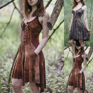 Vintage-Womens-Steampunk-Lace-Up-Dress-Party-Medieval-Gothic-Cosplay-Costume