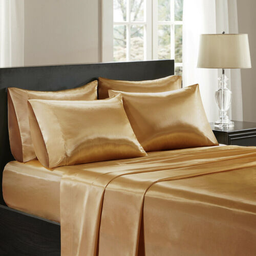 4-PC Gold Bridal Satin Silky Sheet Set Queen//King Size Flat Fitted Pillows 500T