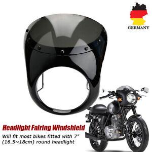 Universal-7-034-Motorrad-Scheinwerfer-Verkleidung-Lampenmaske-fuer-Cafe-Racer-Schwarz