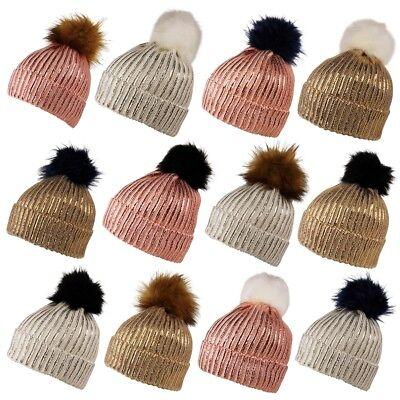 Baby hat POM POM bobble rib ribbed knit winter warm