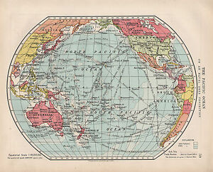 1924 PRINT ~ THE PACIFIC OCEAN EQUAL AREA PROJECTION ~ TRADE ROUTES