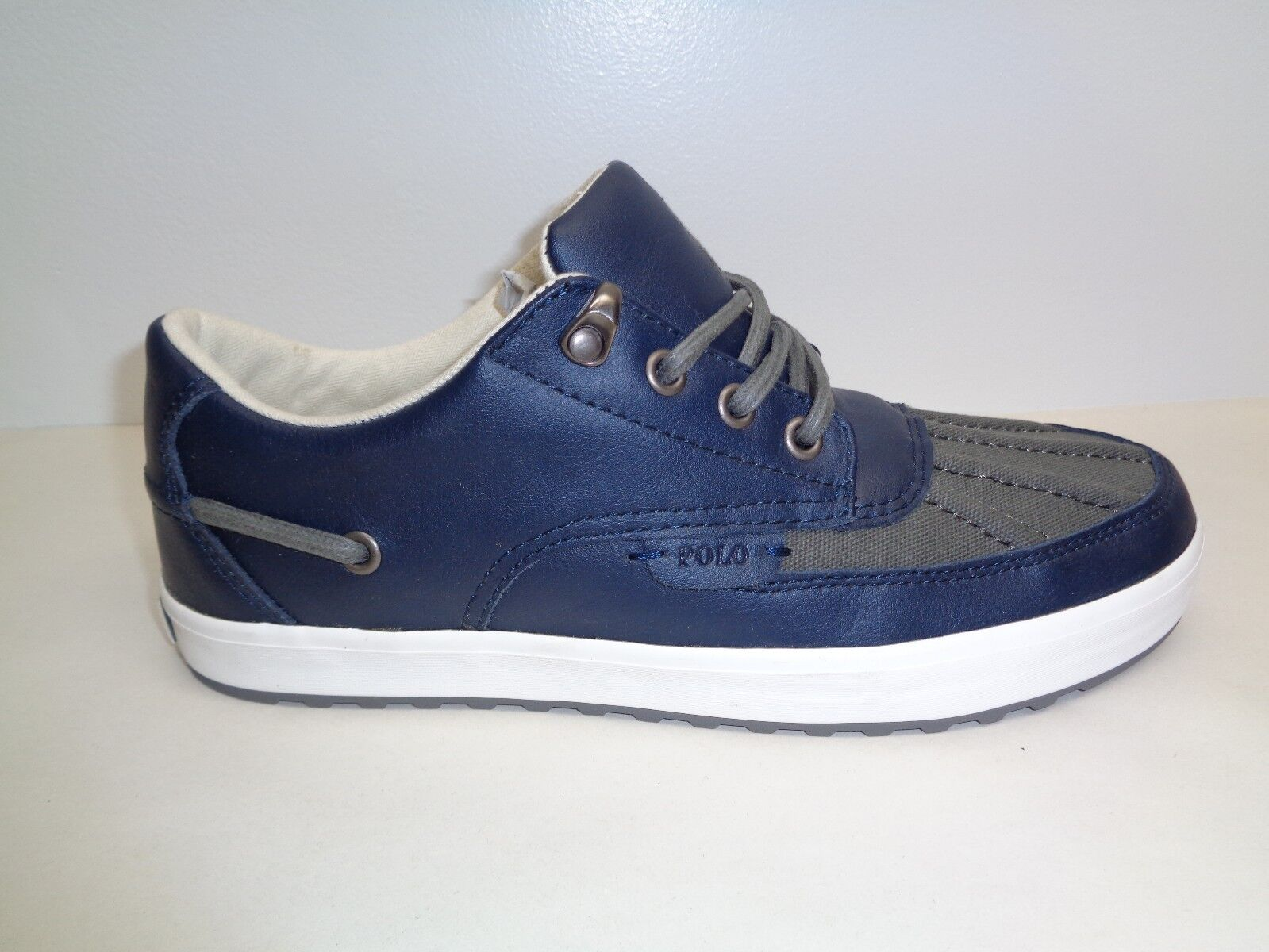 Polo Ralph Lauren Size 8.5 M RAMIRO Navy Leather Fashion Sneakers New Mens shoes