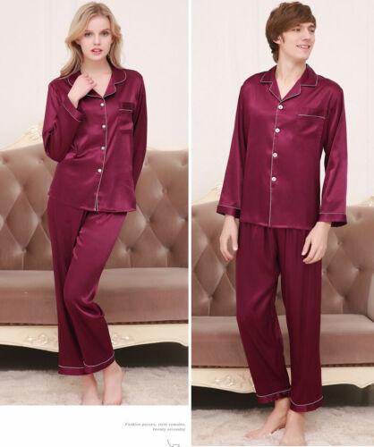 Women Men Silk Satin Pajamas Sets Long Sleeve Pyjamas Sleepwear Lovers Nightdres