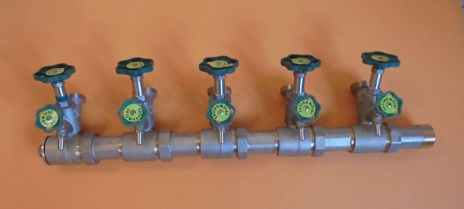 Schlößer Verteiler Kompaktverteiler Wasserverteiler DN40 5fach   9300202+9300224